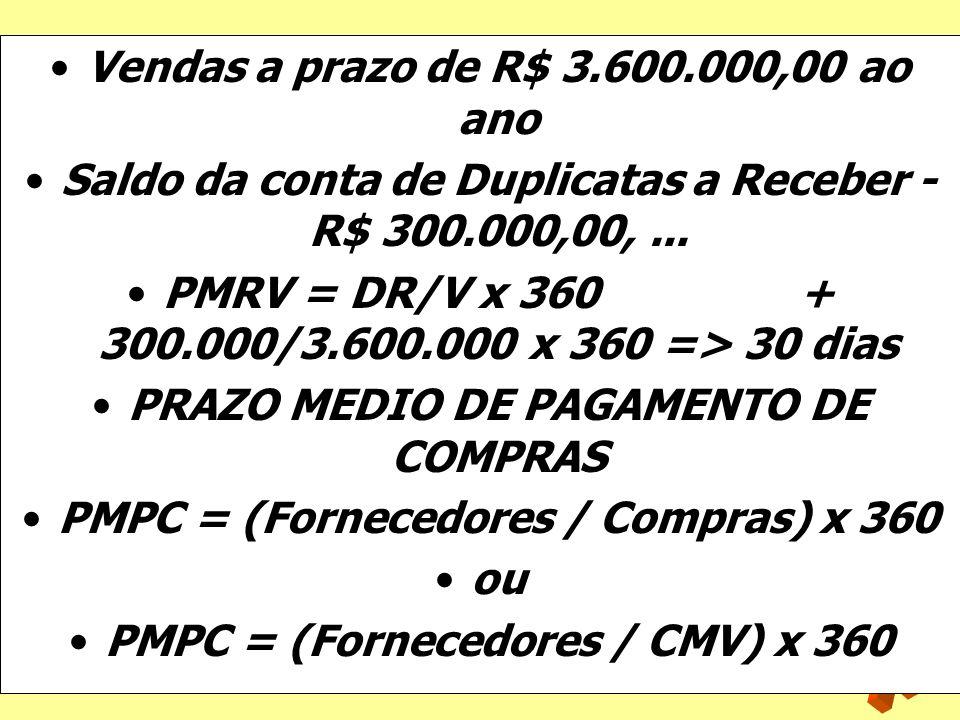 Vendas a prazo de R$ 3.600.000,00 ao ano