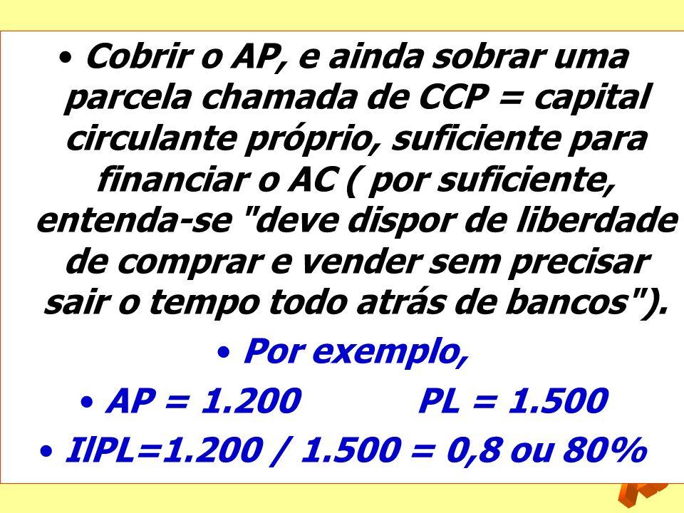 Cobrir o AP, e ainda sobrar uma parcela chamada de CCP = capital circulante próprio, suficiente para financiar o AC ( por suficiente, entenda-se deve dispor de liberdade de comprar e vender sem precisar sair o tempo todo atrás de bancos ).