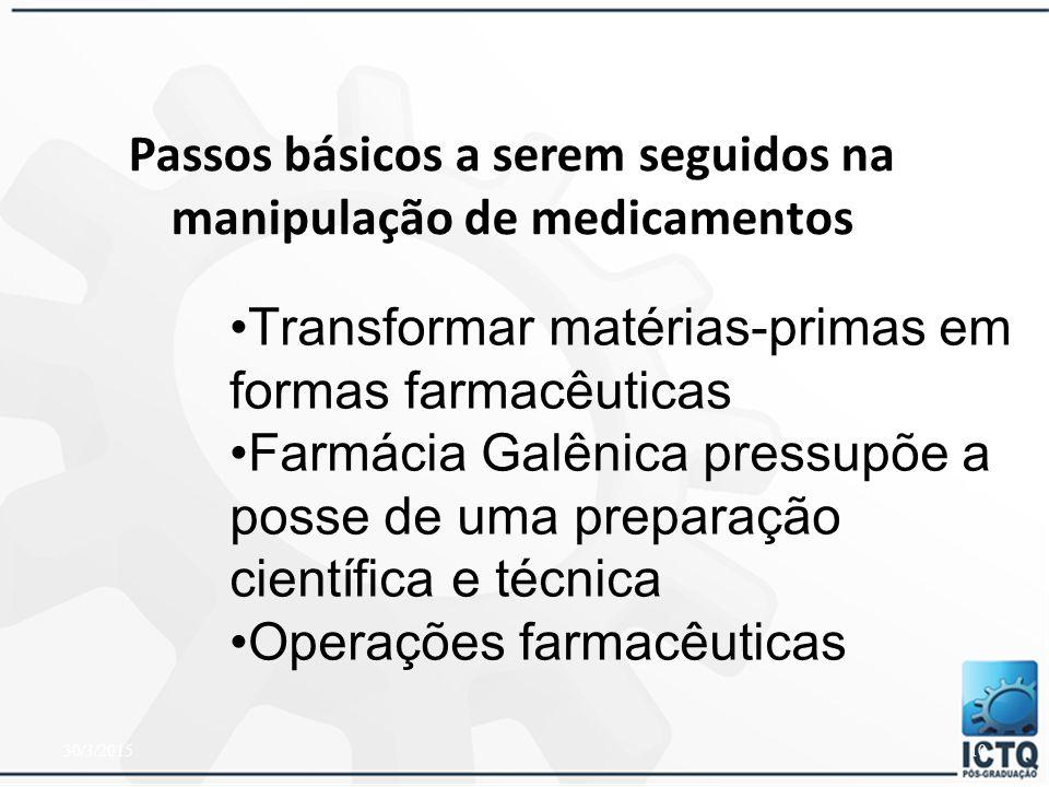 Passos básicos a serem seguidos na manipulação de medicamentos
