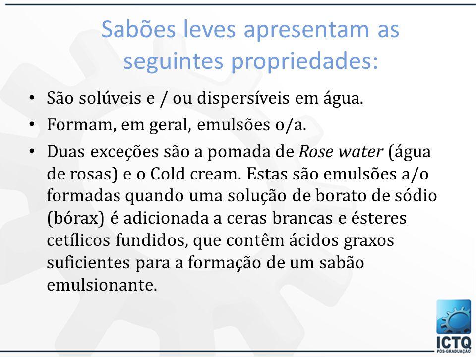 Sabões leves apresentam as seguintes propriedades: