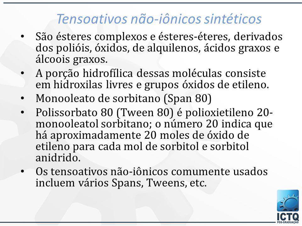 Tensoativos não-iônicos sintéticos