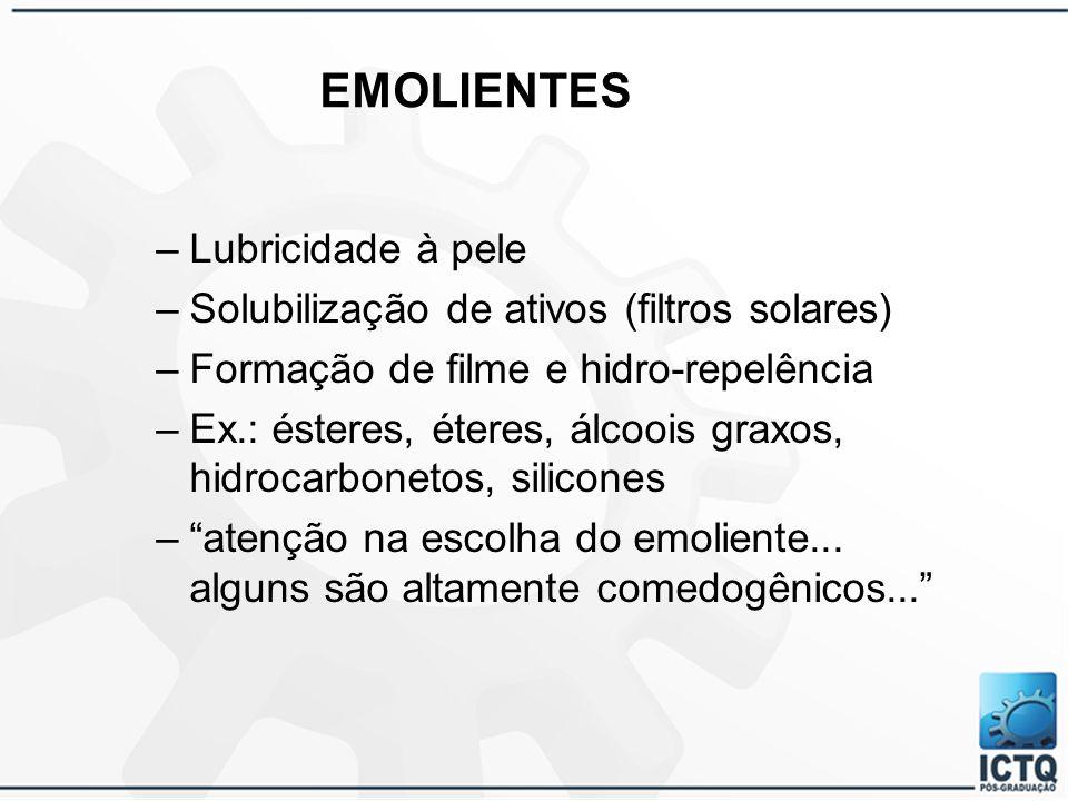 EMOLIENTES Lubricidade à pele