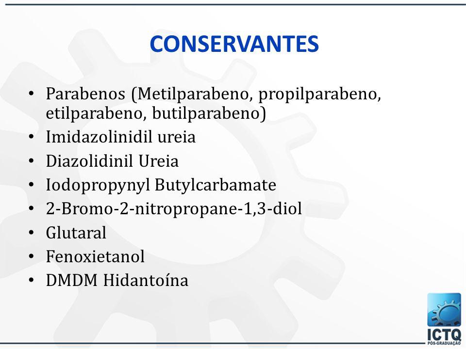CONSERVANTES Parabenos (Metilparabeno, propilparabeno, etilparabeno, butilparabeno) Imidazolinidil ureia.