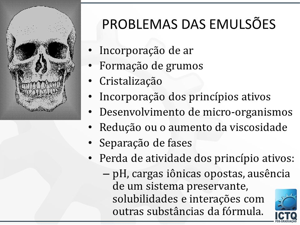PROBLEMAS DAS EMULSÕES