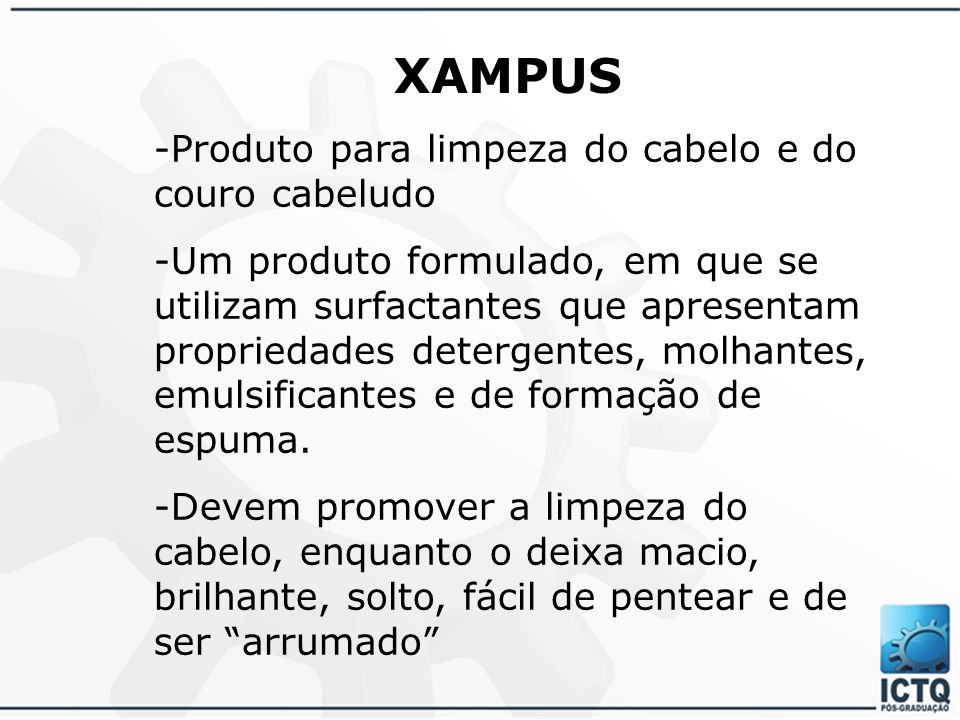 XAMPUS -Produto para limpeza do cabelo e do couro cabeludo