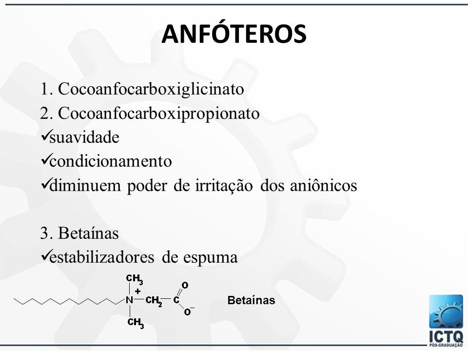 ANFÓTEROS 1. Cocoanfocarboxiglicinato 2. Cocoanfocarboxipropionato