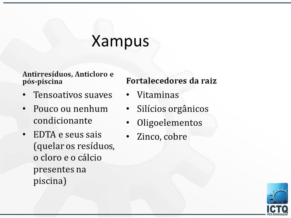 Xampus Tensoativos suaves Pouco ou nenhum condicionante