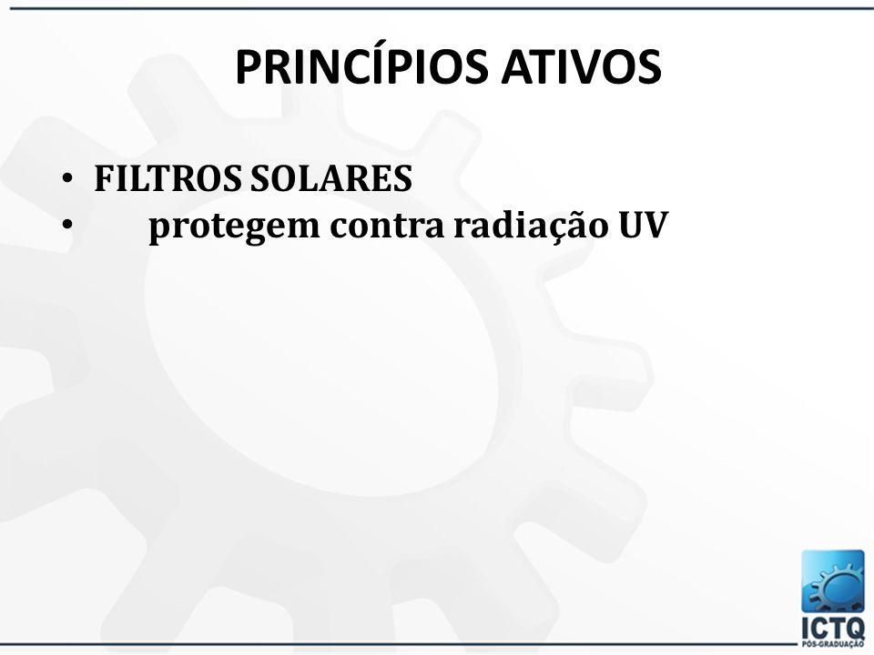 PRINCÍPIOS ATIVOS FILTROS SOLARES protegem contra radiação UV 49