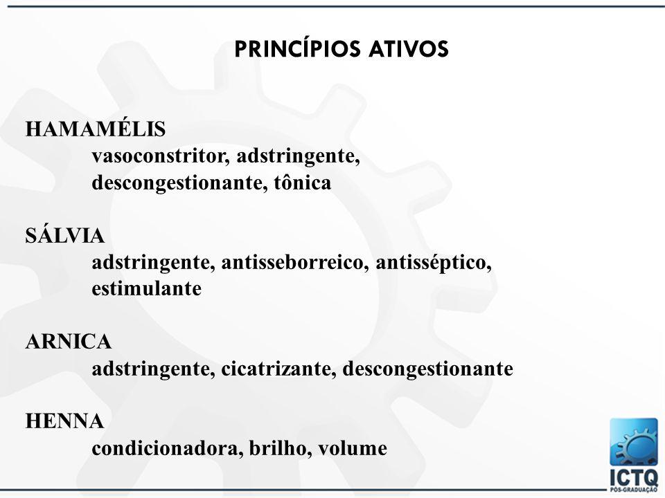 PRINCÍPIOS ATIVOS HAMAMÉLIS vasoconstritor, adstringente,