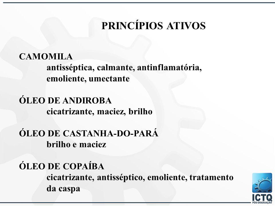 PRINCÍPIOS ATIVOS CAMOMILA antisséptica, calmante, antinflamatória,