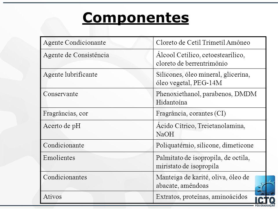 Componentes Agente Condicionante Cloreto de Cetil Trimetil Amôneo