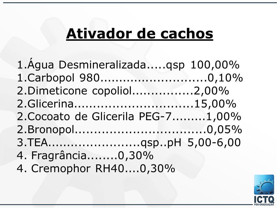 Ativador de cachos 1.Água Desmineralizada.....qsp 100,00%
