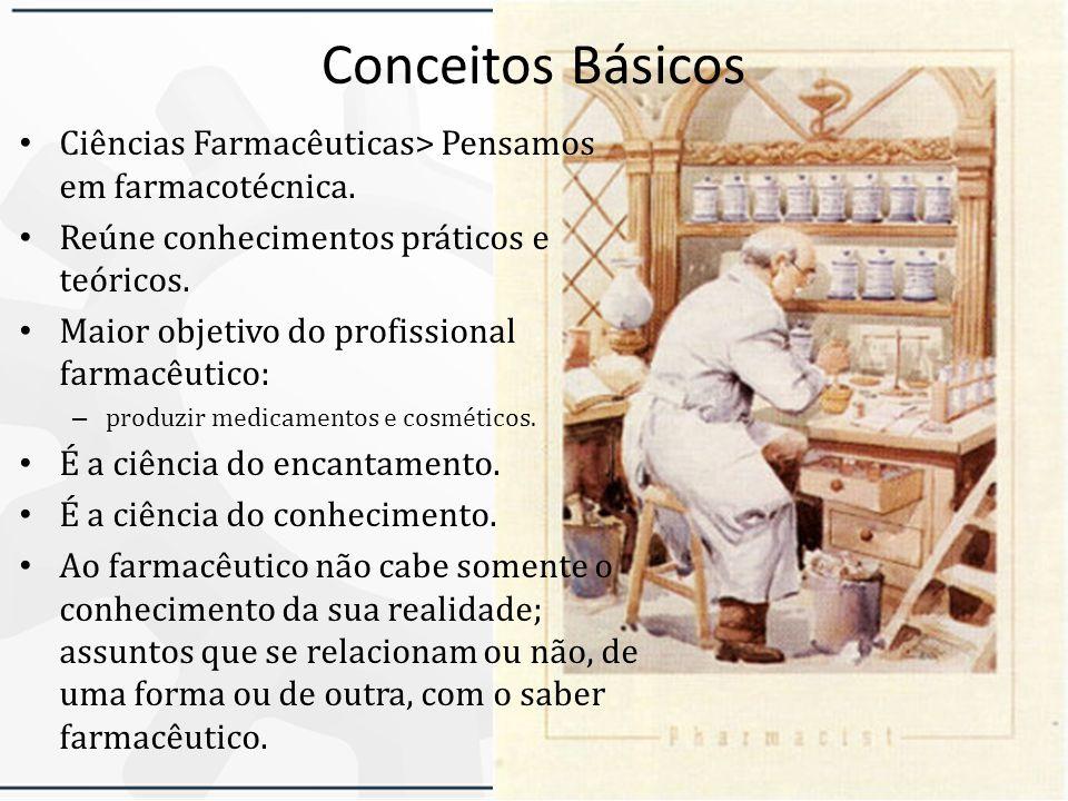 Conceitos Básicos Ciências Farmacêuticas> Pensamos em farmacotécnica. Reúne conhecimentos práticos e teóricos.
