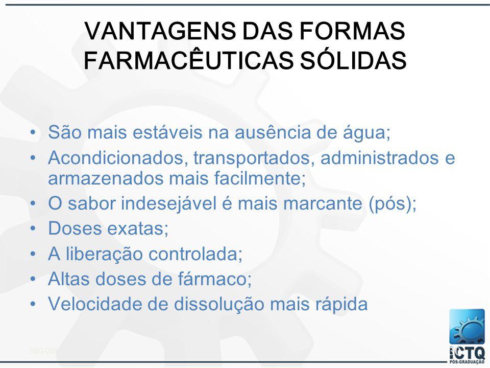 VANTAGENS DAS FORMAS FARMACÊUTICAS SÓLIDAS