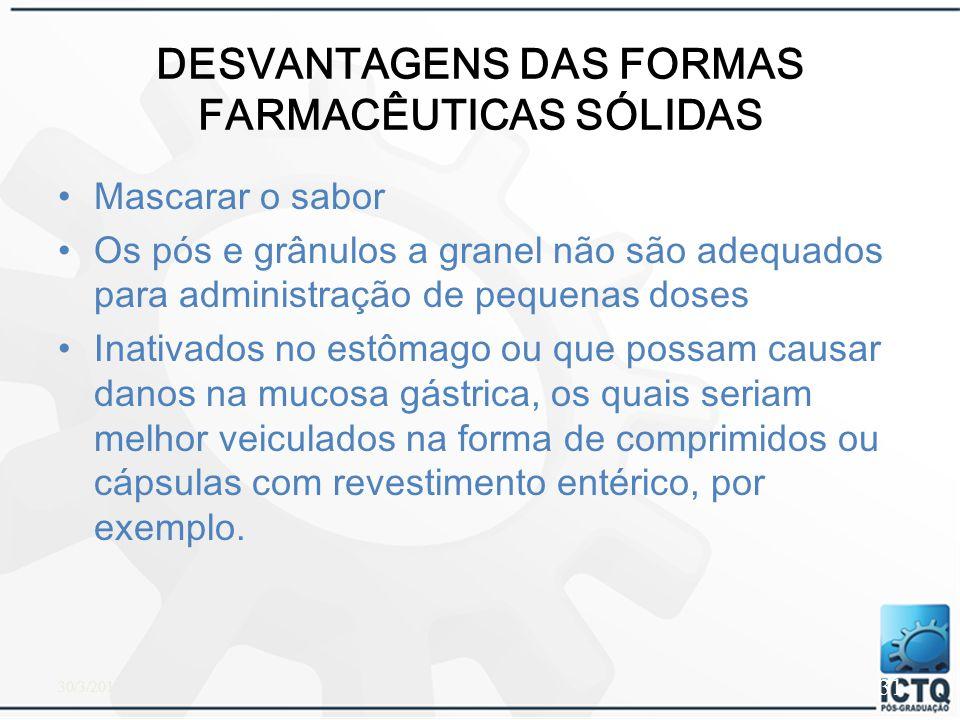 DESVANTAGENS DAS FORMAS FARMACÊUTICAS SÓLIDAS