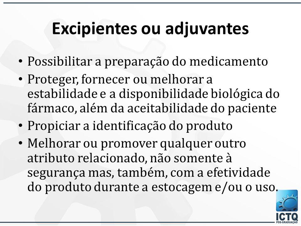 Excipientes ou adjuvantes
