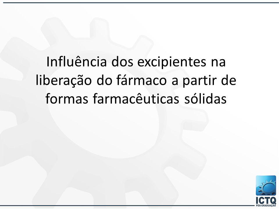 Influência dos excipientes na liberação do fármaco a partir de formas farmacêuticas sólidas