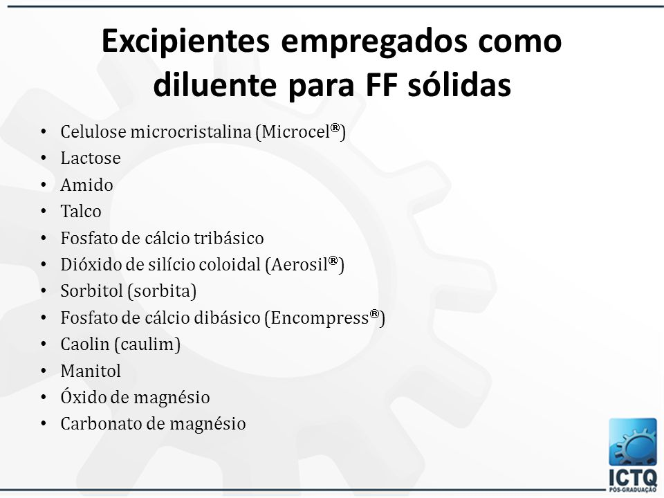 Excipientes empregados como diluente para FF sólidas