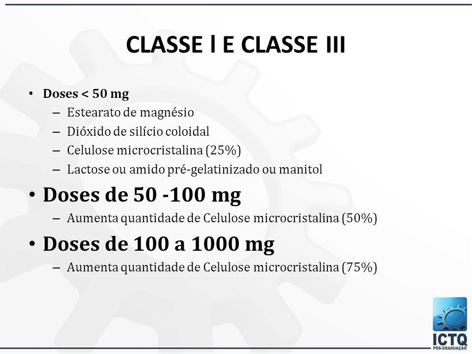 CLASSE l E CLASSE III Doses de 50 -100 mg Doses de 100 a 1000 mg