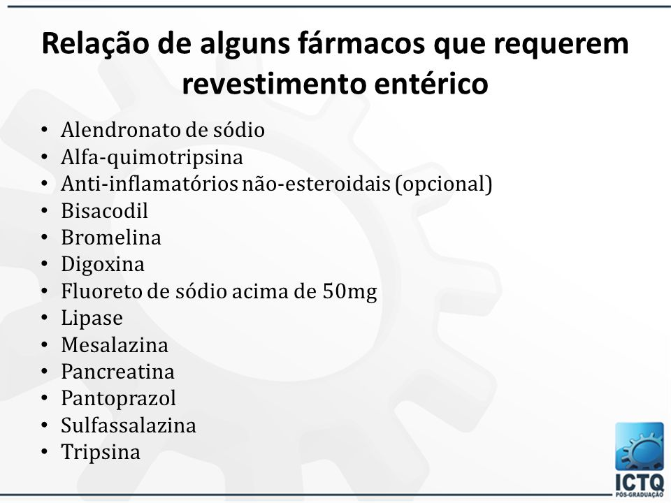 Relação de alguns fármacos que requerem revestimento entérico