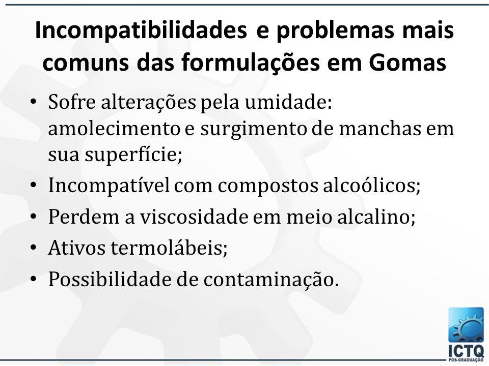 Incompatibilidades e problemas mais comuns das formulações em Gomas