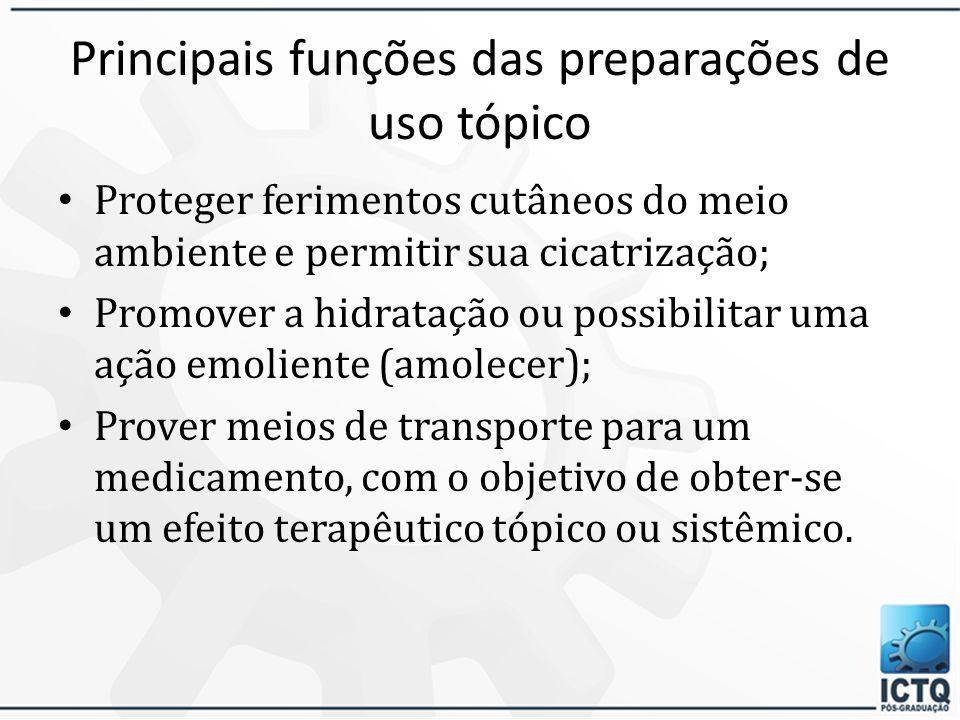Principais funções das preparações de uso tópico