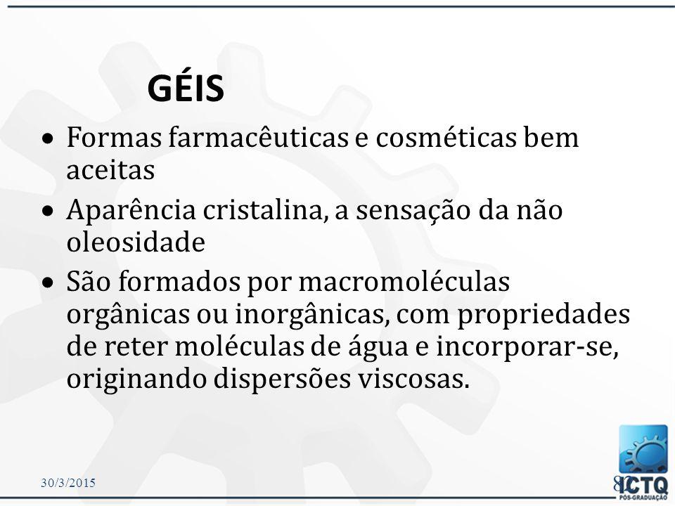 GÉIS Formas farmacêuticas e cosméticas bem aceitas