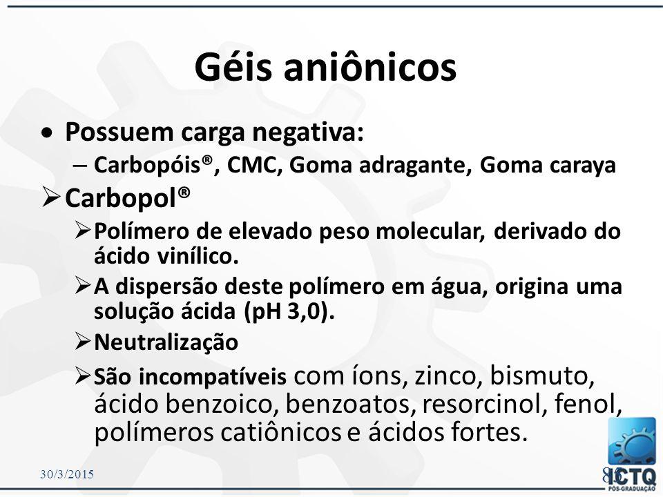 Géis aniônicos Possuem carga negativa: Carbopol®