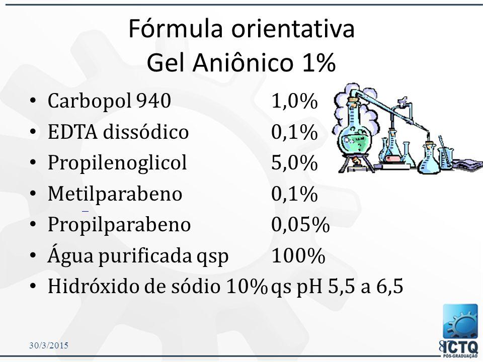 Fórmula orientativa Gel Aniônico 1%