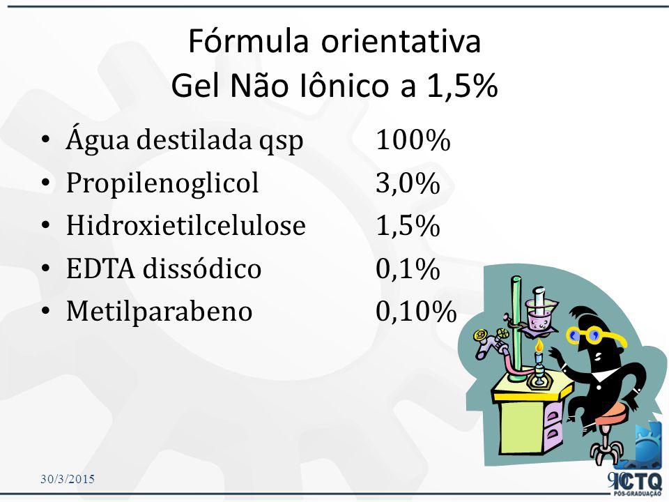 Fórmula orientativa Gel Não Iônico a 1,5%
