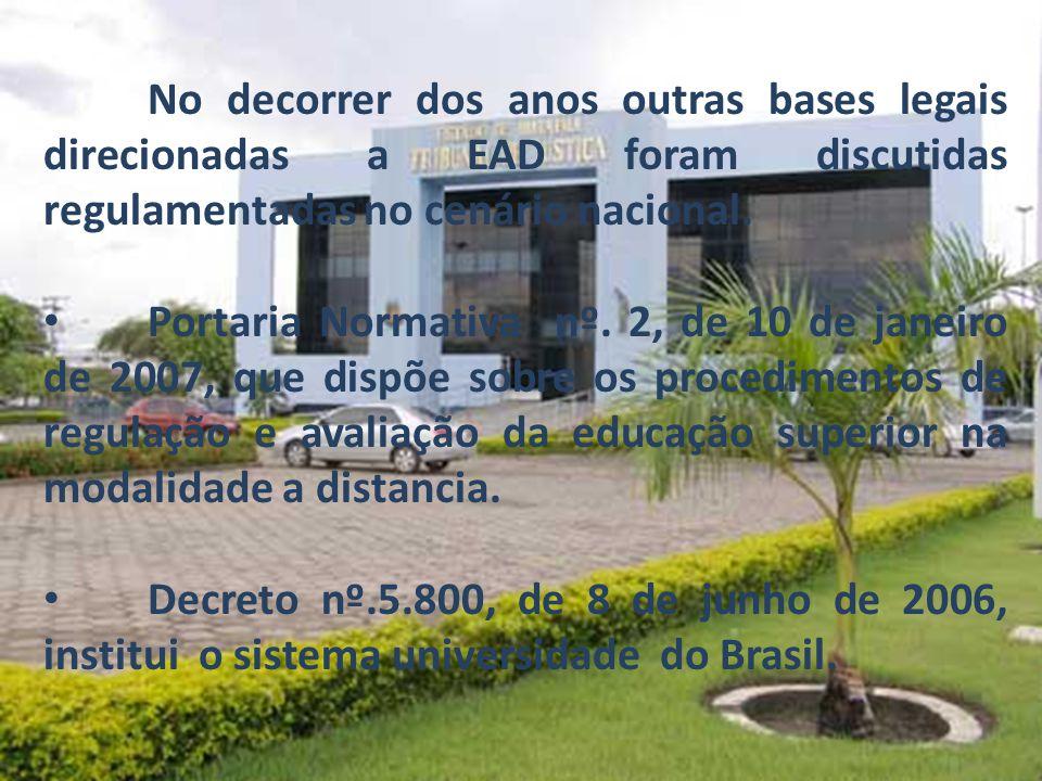 No decorrer dos anos outras bases legais direcionadas a EAD foram discutidas regulamentadas no cenário nacional.
