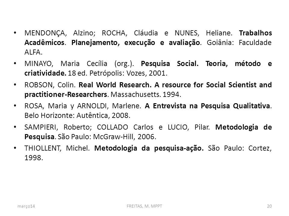MENDONÇA, Alzino; Rocha, Cláudia e nunes, Heliane. Trabalhos Acadêmicos. Planejamento, execução e avaliação. Goiânia: Faculdade ALFA.