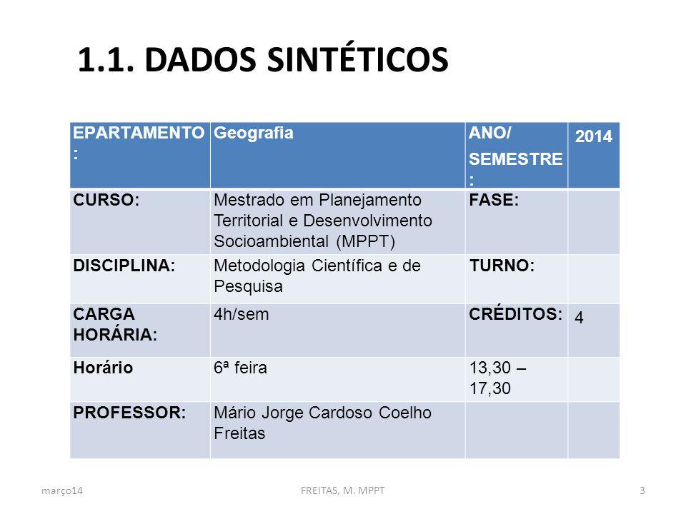1.1. DADOS SINTÉTICOS EPARTAMENTO : Geografia ANO/ SEMESTRE : 2014