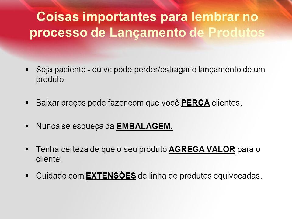 Coisas importantes para lembrar no processo de Lançamento de Produtos