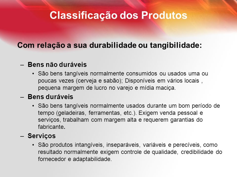Classificação dos Produtos
