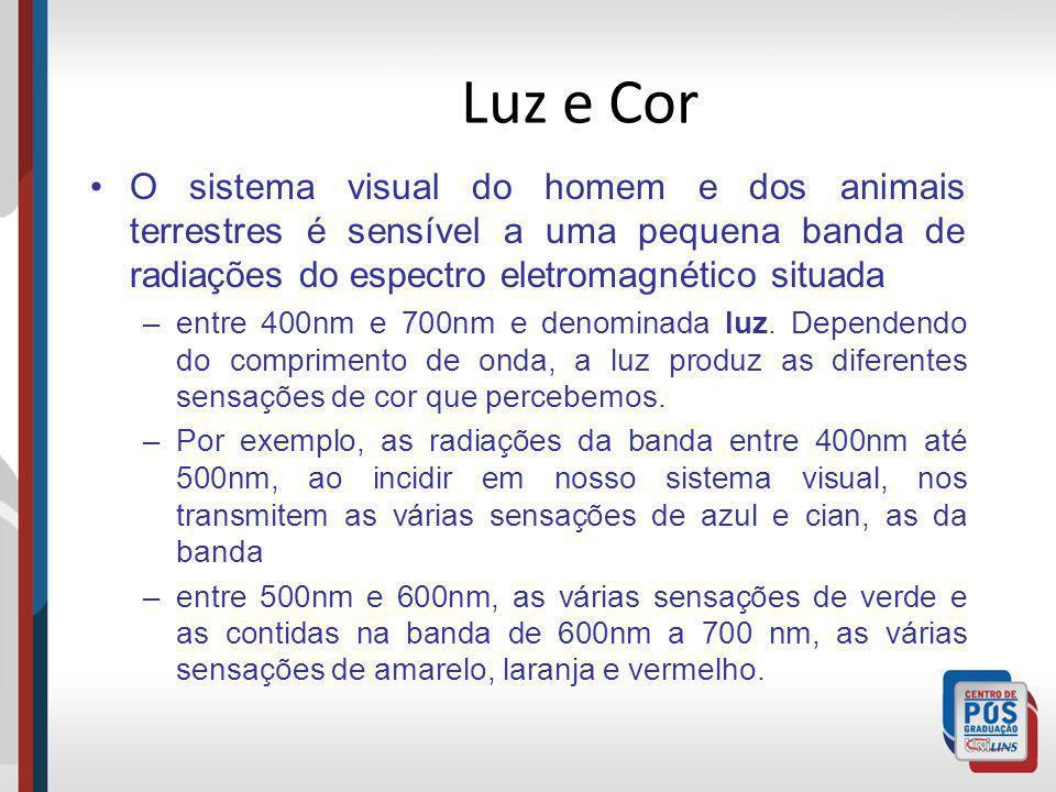 Luz e Cor O sistema visual do homem e dos animais terrestres é sensível a uma pequena banda de radiações do espectro eletromagnético situada.