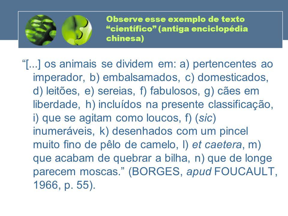 Observe esse exemplo de texto científico (antiga enciclopédia chinesa)