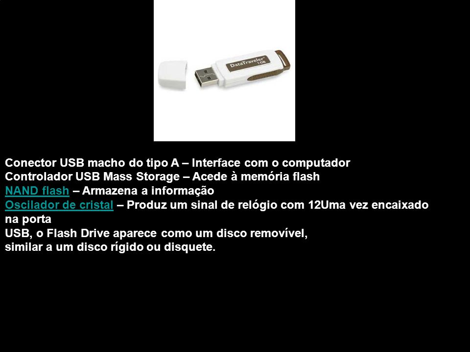 Conector USB macho do tipo A – Interface com o computador