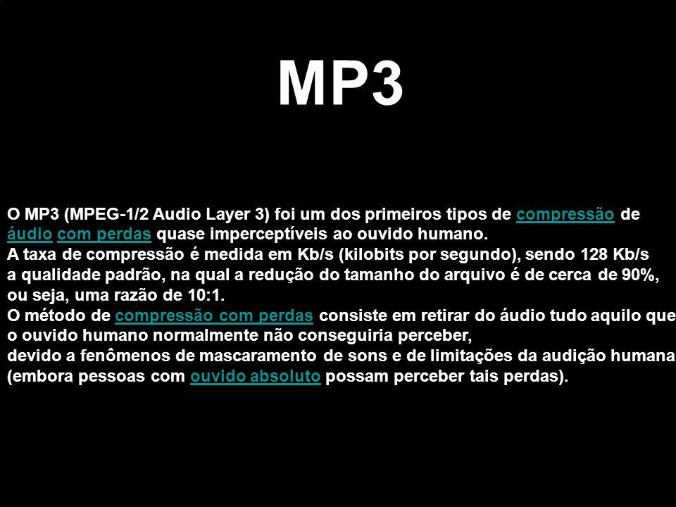 O MP3 (MPEG-1/2 Audio Layer 3) foi um dos primeiros tipos de compressão de
