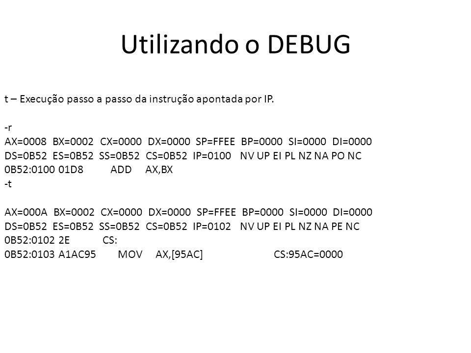 Utilizando o DEBUG t – Execução passo a passo da instrução apontada por IP. -r.
