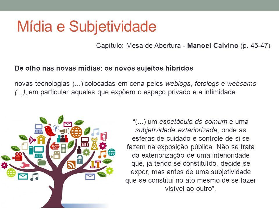 Mídia e Subjetividade Capítulo: Mesa de Abertura - Manoel Calvino (p. 45-47) De olho nas novas mídias: os novos sujeitos híbridos.