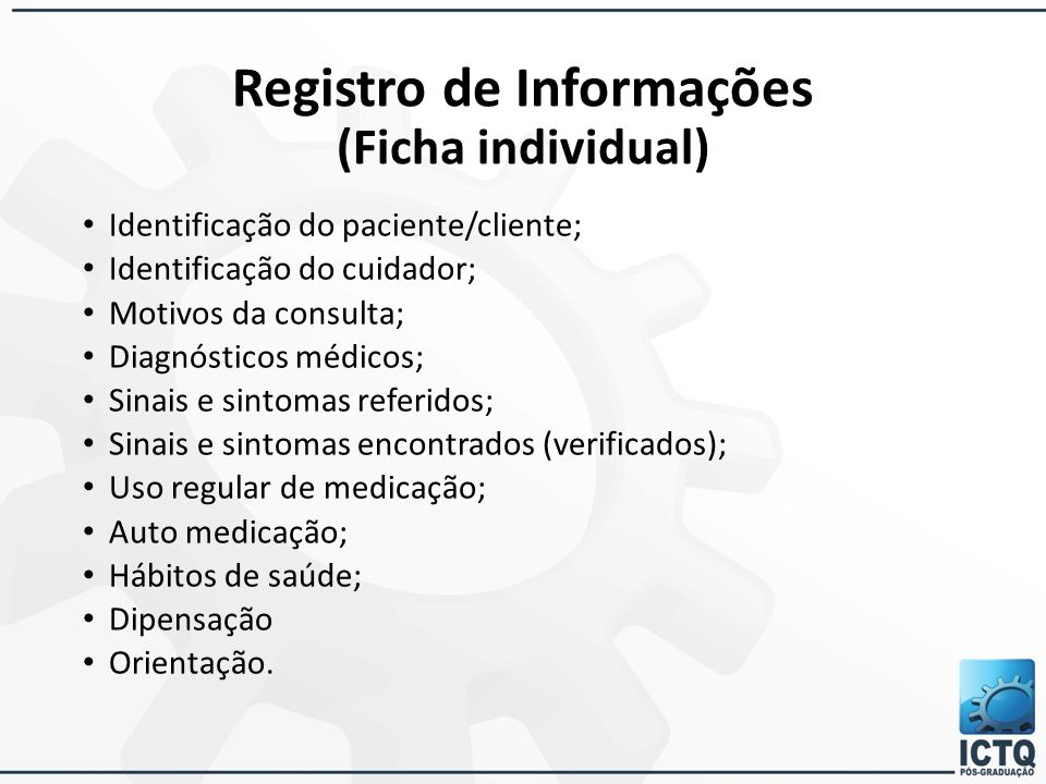Registro de Informações (Ficha individual)