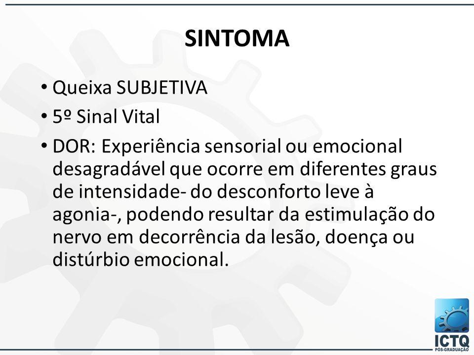 SINTOMA Queixa SUBJETIVA 5º Sinal Vital