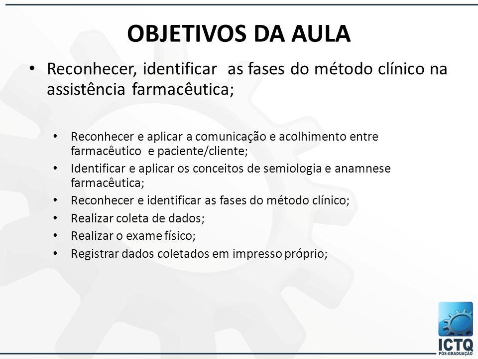 OBJETIVOS DA AULA Reconhecer, identificar as fases do método clínico na assistência farmacêutica;