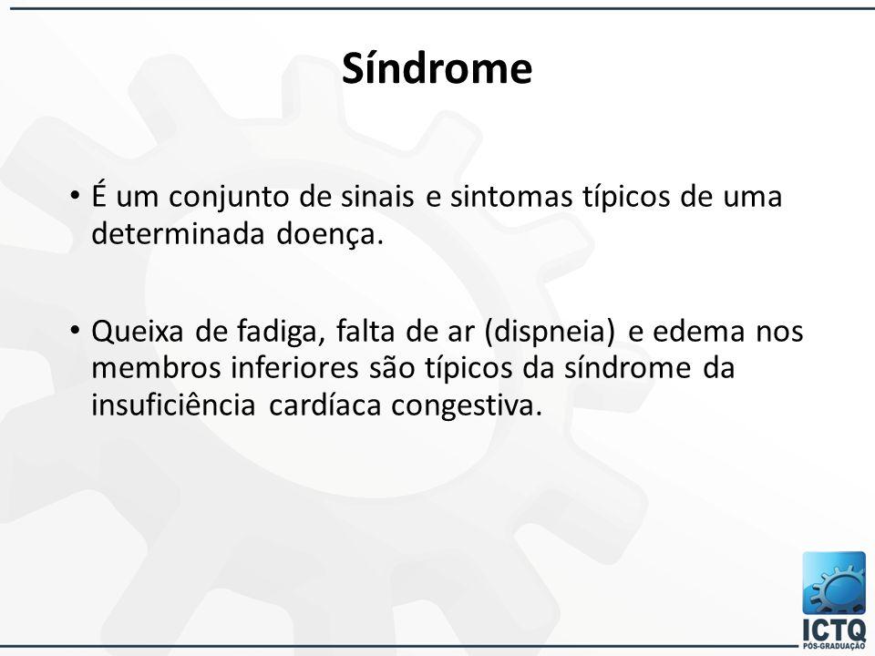 Síndrome É um conjunto de sinais e sintomas típicos de uma determinada doença.