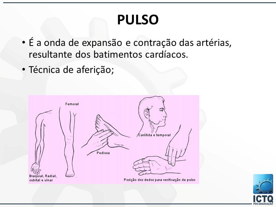 PULSO É a onda de expansão e contração das artérias, resultante dos batimentos cardíacos.