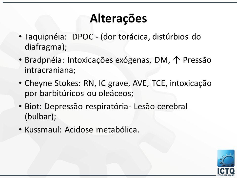 Alterações Taquipnéia: DPOC - (dor torácica, distúrbios do diafragma);