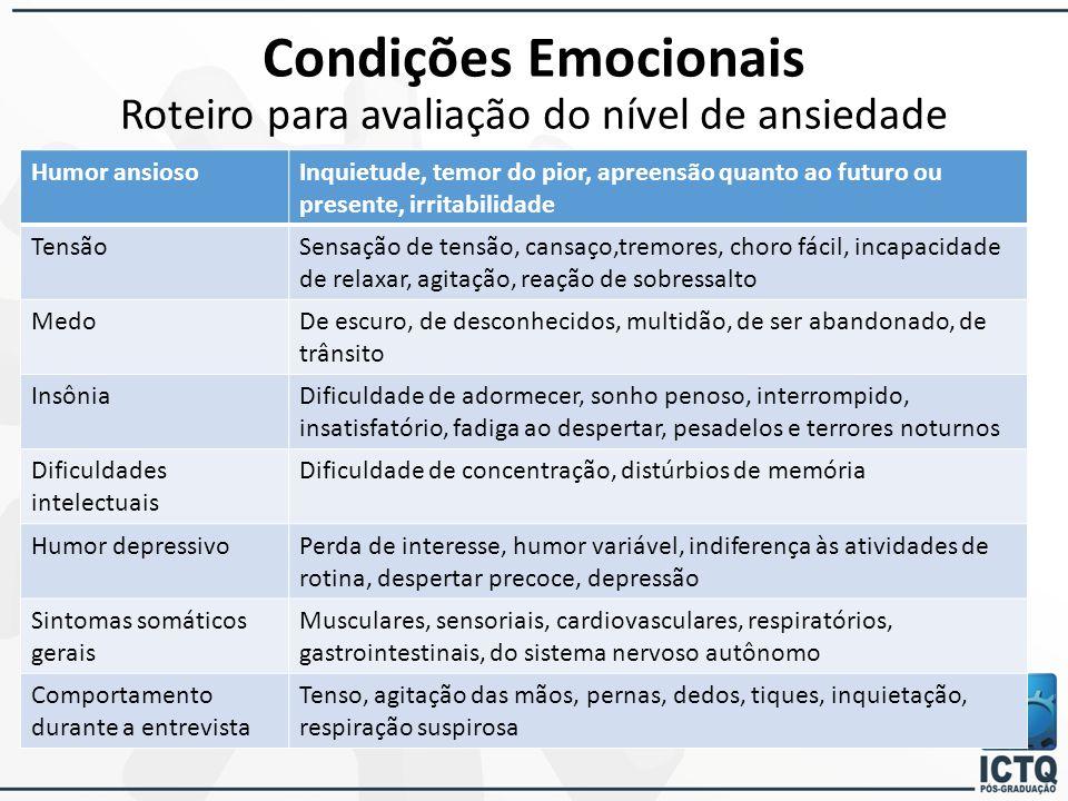 Condições Emocionais Roteiro para avaliação do nível de ansiedade
