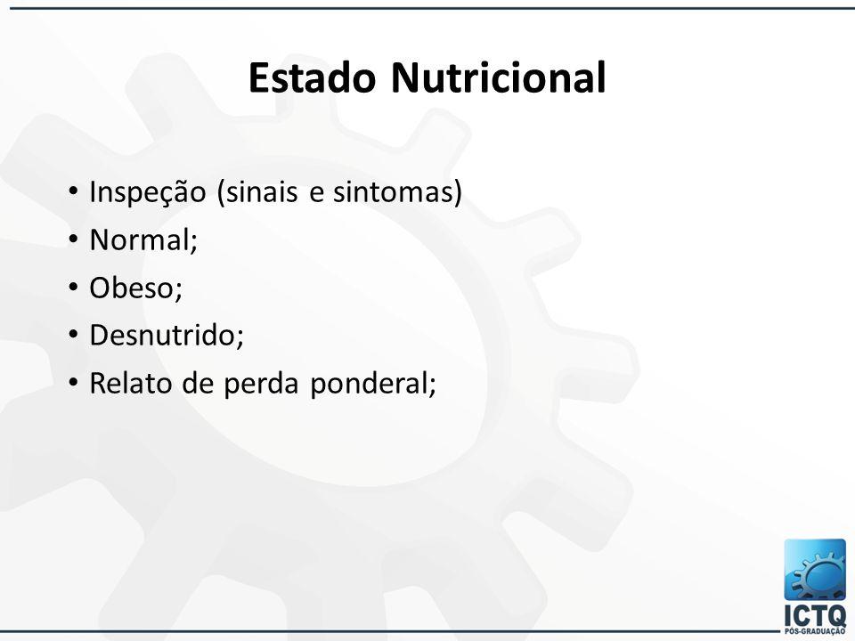Estado Nutricional Inspeção (sinais e sintomas) Normal; Obeso;