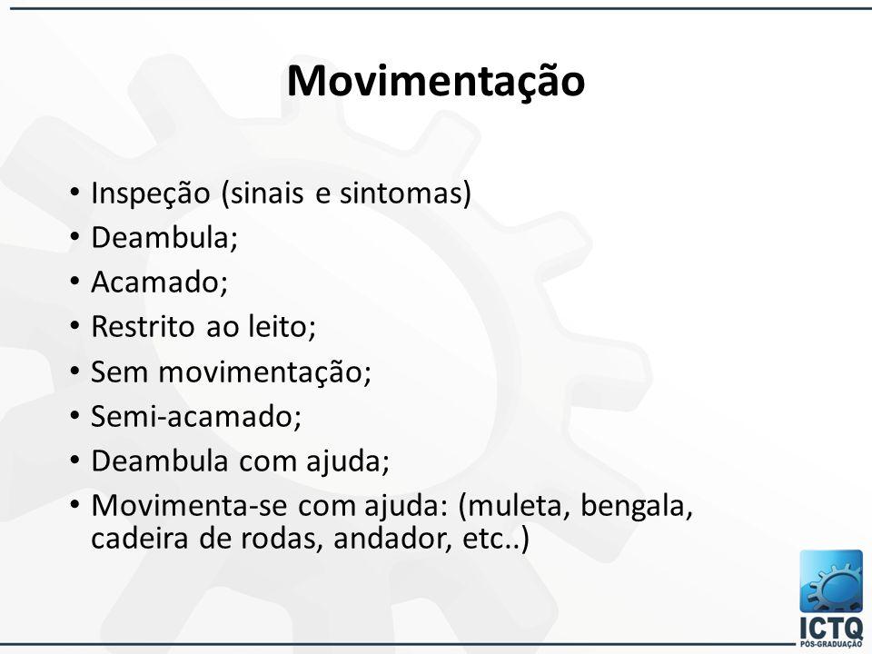 Movimentação Inspeção (sinais e sintomas) Deambula; Acamado;
